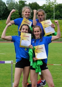 Badische Meisterinnen über 4x100 Meter: Annika Bode, Celine Scheifele, Gloria Antonaci und Hanna Altmann