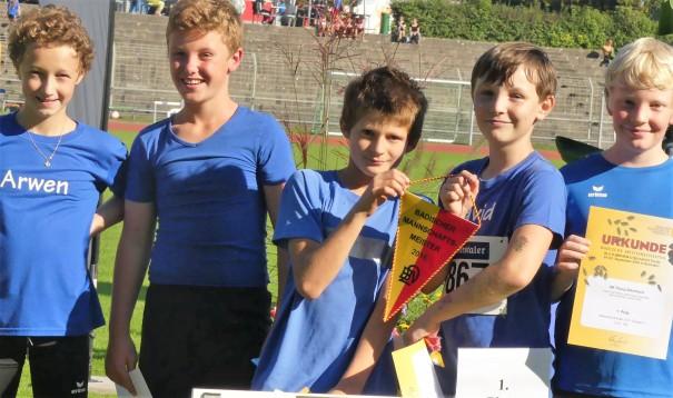 Badische Meister 2016 Jungs U12: (von Links): Arwen Derler, Cedrik Uecker, David Sennikov, Jakob Kögl.
