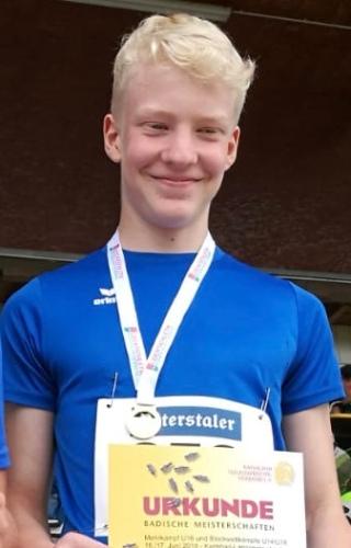 Jaköb Kögl, Badischer Meister im Blockwettkampf Wurf der M13